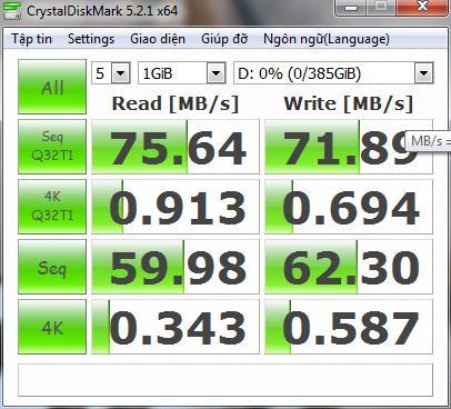 CrystalDisk Mark xem hiệu năng ổ cứng