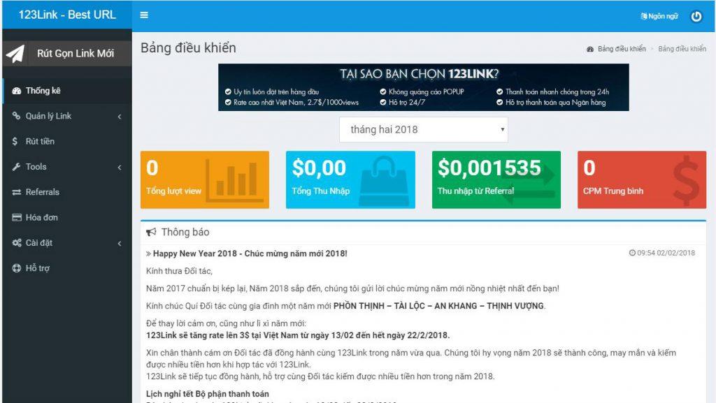 Đăng ký tài khoản kiếm tiền bằng cách rút gọn link trên 123link.top