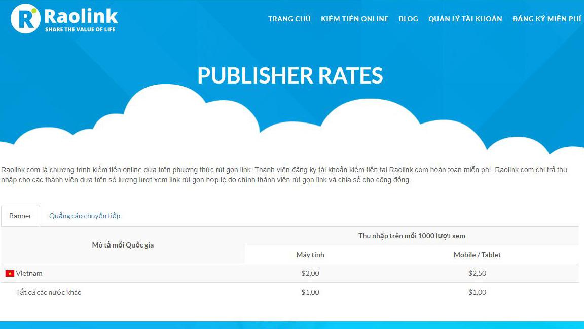 Giá tiền click Raolink